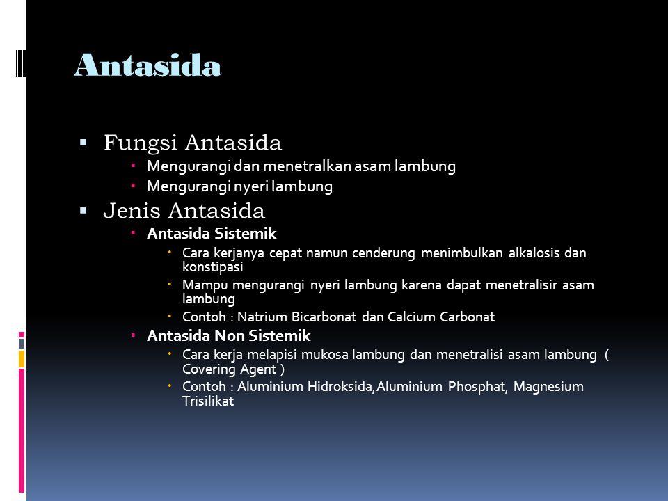 Obat Ulkus Peptikum  Ulkus peptikum menimbulkan nyeri pada lambung dan usus sehingga pemberian obatnya selain dengan antasida, juga diberikan obat sedatifa dan obat parasimpatolitik atau obat anti kolinergik atau obat antispasmodik  Golongan obat ulkus peptikum  Bismuth-Subsitrat  Sukralfat  Pirenzepin  Omeperazol  Antispasmodik -Analgetik