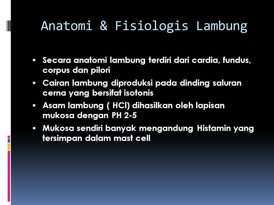 Anatomi & Fisiologis Lambung  Secara anatomi lambung terdiri dari cardia, fundus, corpus dan pilori  Cairan lambung diproduksi pada dinding saluran