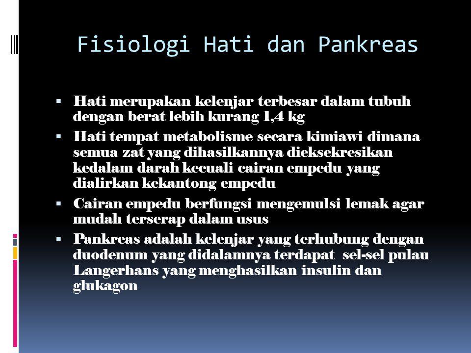 Fisiologi Hati dan Pankreas  Hati merupakan kelenjar terbesar dalam tubuh dengan berat lebih kurang 1,4 kg  Hati tempat metabolisme secara kimiawi d