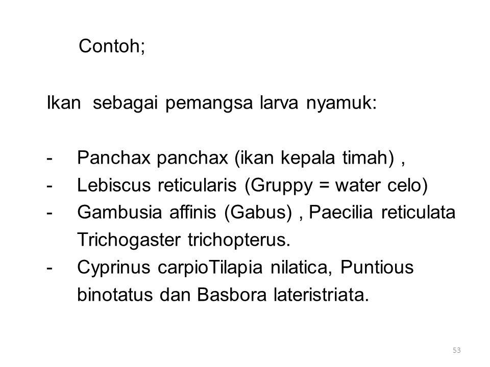 Contoh; Ikan sebagai pemangsa larva nyamuk: -Panchax panchax (ikan kepala timah), -Lebiscus reticularis (Gruppy = water celo) -Gambusia affinis (Gabus), Paecilia reticulata Trichogaster trichopterus.