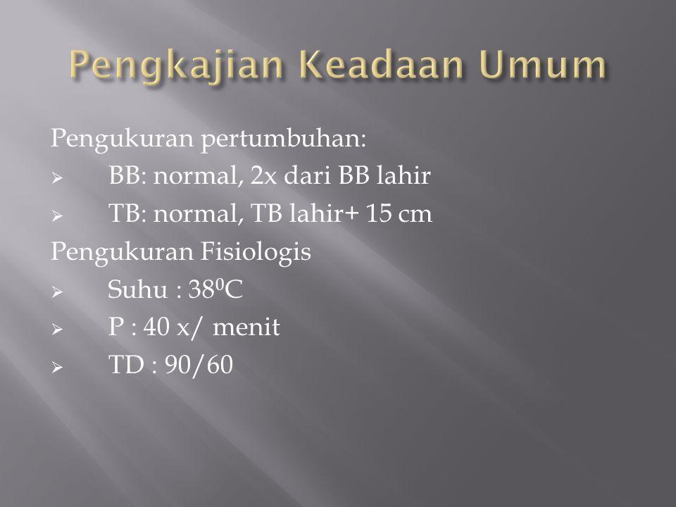Pengukuran pertumbuhan:  BB: normal, 2x dari BB lahir  TB: normal, TB lahir+ 15 cm Pengukuran Fisiologis  Suhu : 38 0 C  P : 40 x/ menit  TD : 90