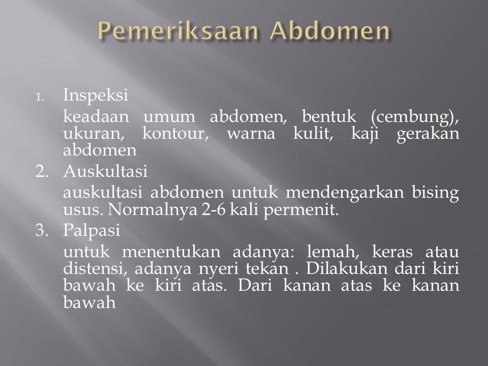 1. Inspeksi keadaan umum abdomen, bentuk (cembung), ukuran, kontour, warna kulit, kaji gerakan abdomen 2. Auskultasi auskultasi abdomen untuk mendenga