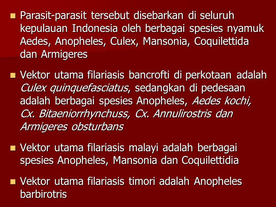 Parasit-parasit tersebut disebarkan di seluruh kepulauan Indonesia oleh berbagai spesies nyamuk Aedes, Anopheles, Culex, Mansonia, Coquilettida dan Ar
