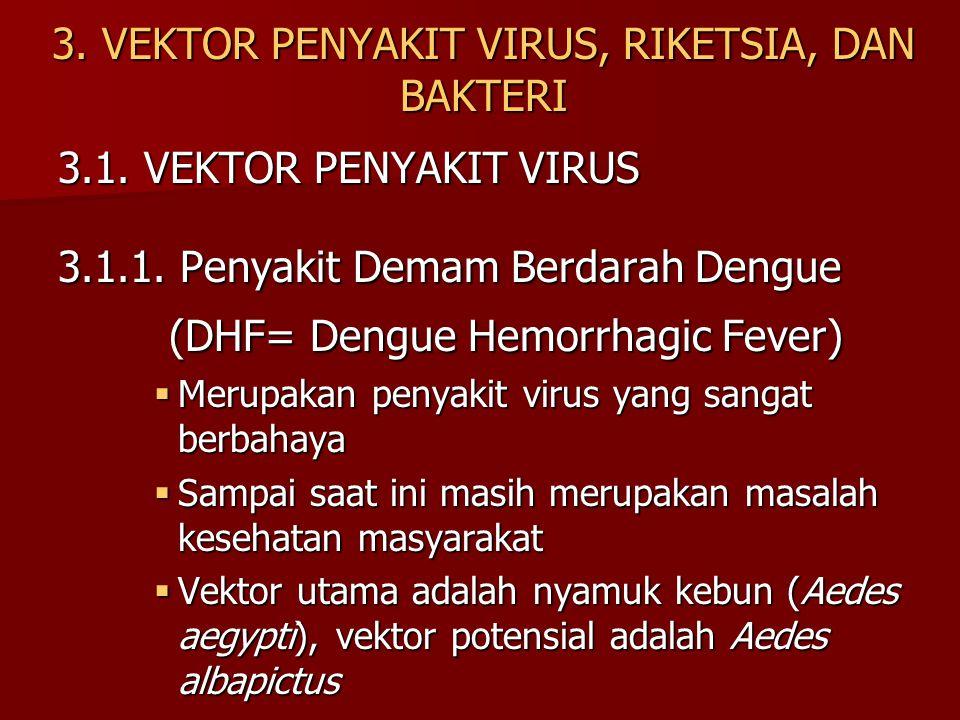 3. VEKTOR PENYAKIT VIRUS, RIKETSIA, DAN BAKTERI 3.1. VEKTOR PENYAKIT VIRUS 3.1.1. Penyakit Demam Berdarah Dengue (DHF= Dengue Hemorrhagic Fever) (DHF=