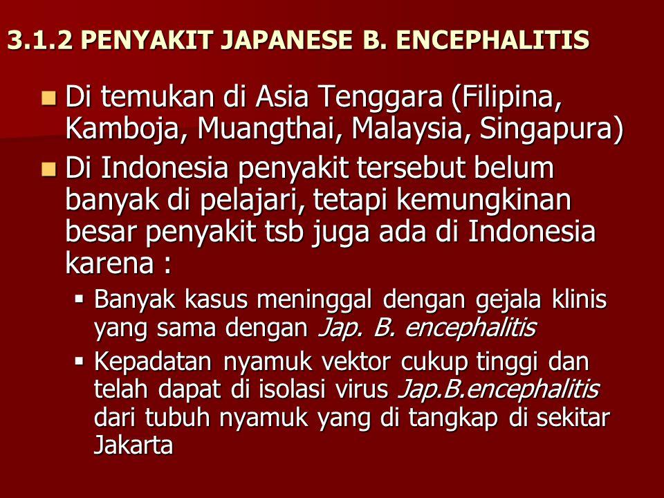3.1.2 PENYAKIT JAPANESE B. ENCEPHALITIS Di temukan di Asia Tenggara (Filipina, Kamboja, Muangthai, Malaysia, Singapura) Di temukan di Asia Tenggara (F