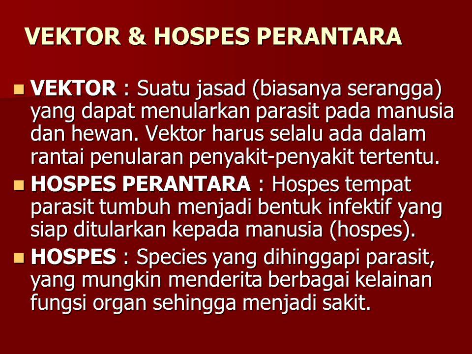 VEKTOR & HOSPES PERANTARA VEKTOR : Suatu jasad (biasanya serangga) yang dapat menularkan parasit pada manusia dan hewan. Vektor harus selalu ada dalam