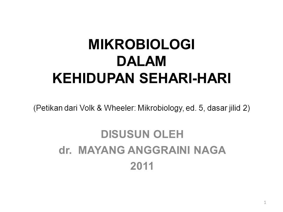 MIKROBIOLOGI DALAM KEHIDUPAN SEHARI-HARI (Petikan dari Volk & Wheeler: Mikrobiology, ed. 5, dasar jilid 2) DISUSUN OLEH dr. MAYANG ANGGRAINI NAGA 2011