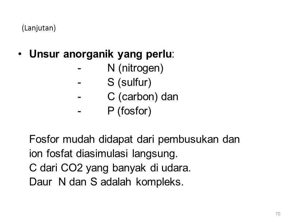 (Lanjutan) Unsur anorganik yang perlu: -N (nitrogen) -S (sulfur) -C (carbon) dan -P (fosfor) Fosfor mudah didapat dari pembusukan dan ion fosfat diasi