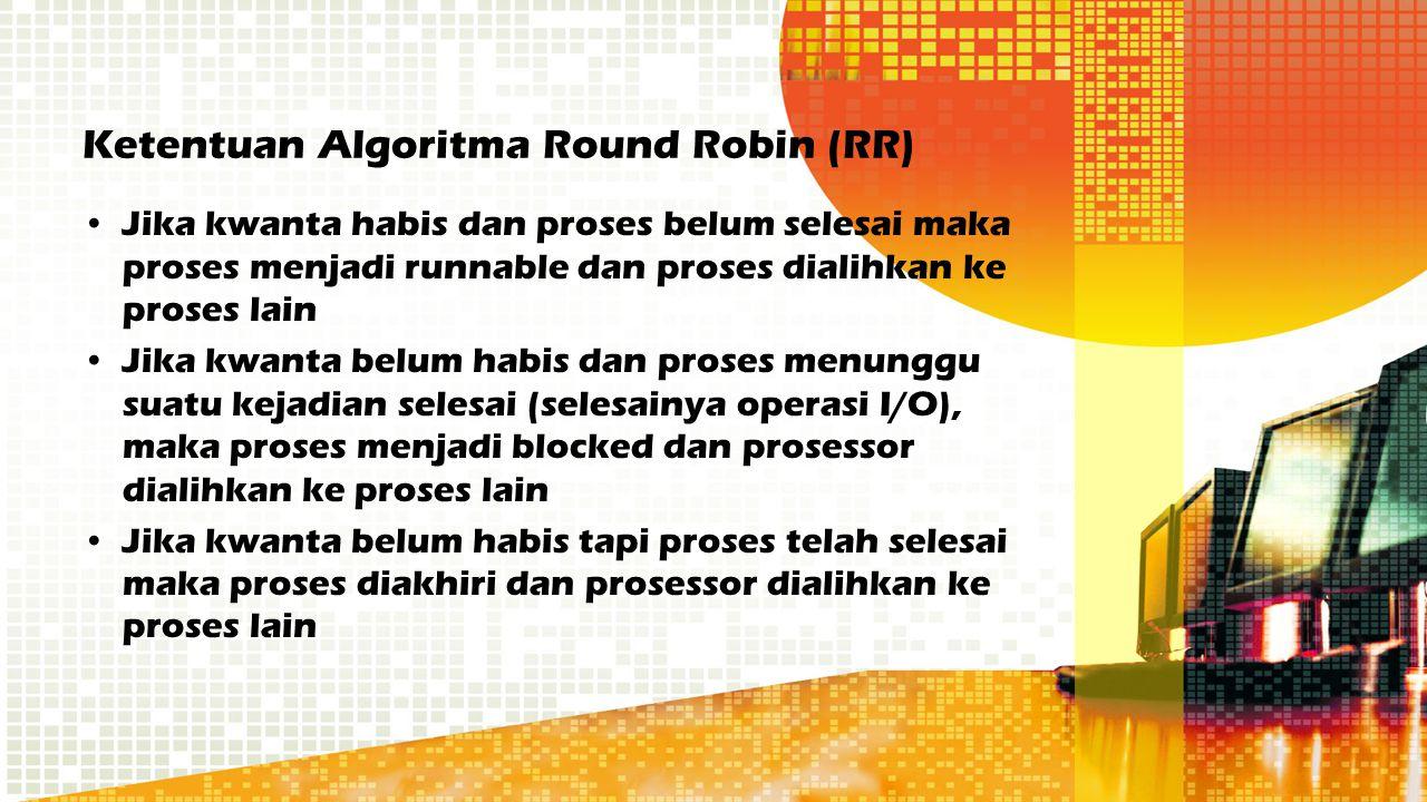 Ketentuan Algoritma Round Robin (RR) Jika kwanta habis dan proses belum selesai maka proses menjadi runnable dan proses dialihkan ke proses lain Jika