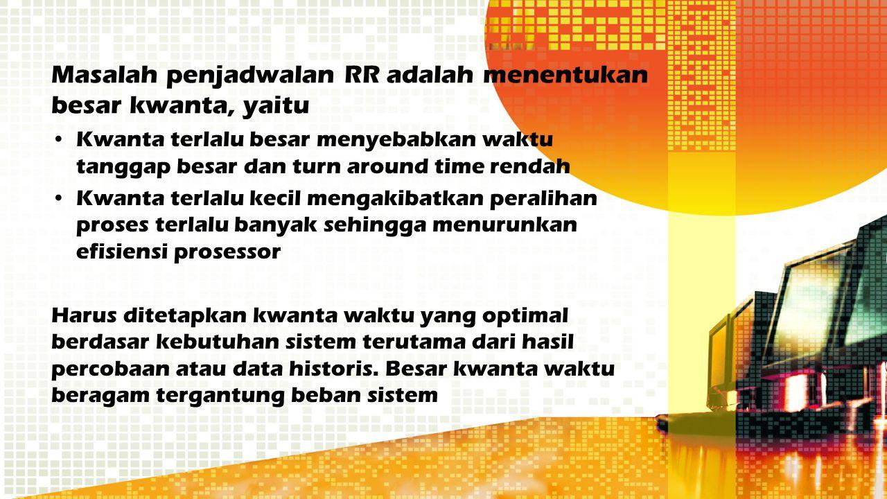 Masalah penjadwalan RR adalah menentukan besar kwanta, yaitu Kwanta terlalu besar menyebabkan waktu tanggap besar dan turn around time rendah Kwanta t