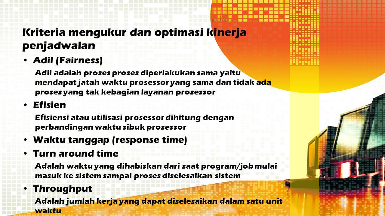 Kriteria mengukur dan optimasi kinerja penjadwalan Adil (Fairness) Adil adalah proses proses diperlakukan sama yaitu mendapat jatah waktu prosessor ya