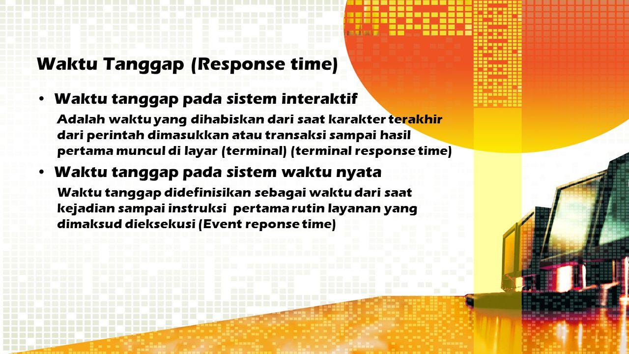 Waktu Tanggap (Response time) Waktu tanggap pada sistem interaktif Adalah waktu yang dihabiskan dari saat karakter terakhir dari perintah dimasukkan a