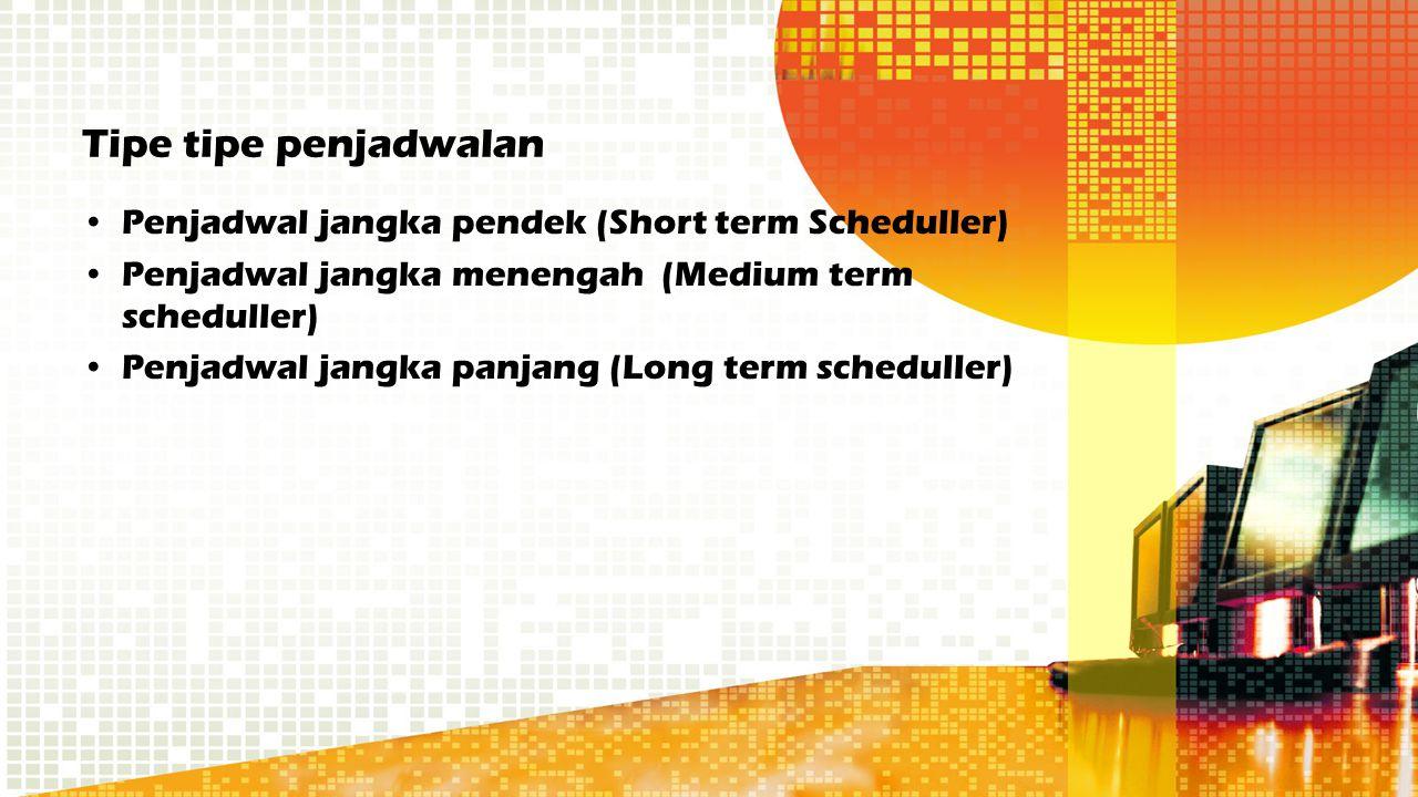 Tipe tipe penjadwalan Penjadwal jangka pendek (Short term Scheduller) Penjadwal jangka menengah (Medium term scheduller) Penjadwal jangka panjang (Lon