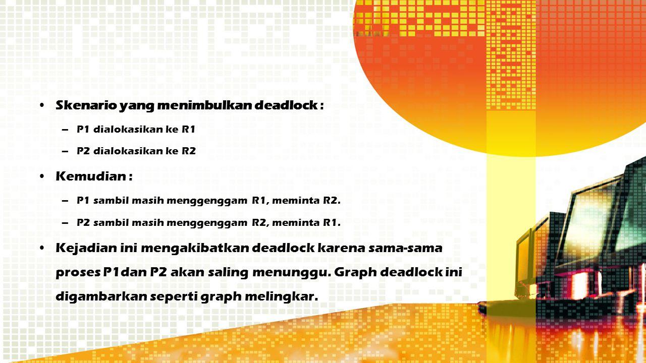 Skenario yang menimbulkan deadlock : –P1 dialokasikan ke R1 –P2 dialokasikan ke R2 Kemudian : –P1 sambil masih menggenggam R1, meminta R2. –P2 sambil