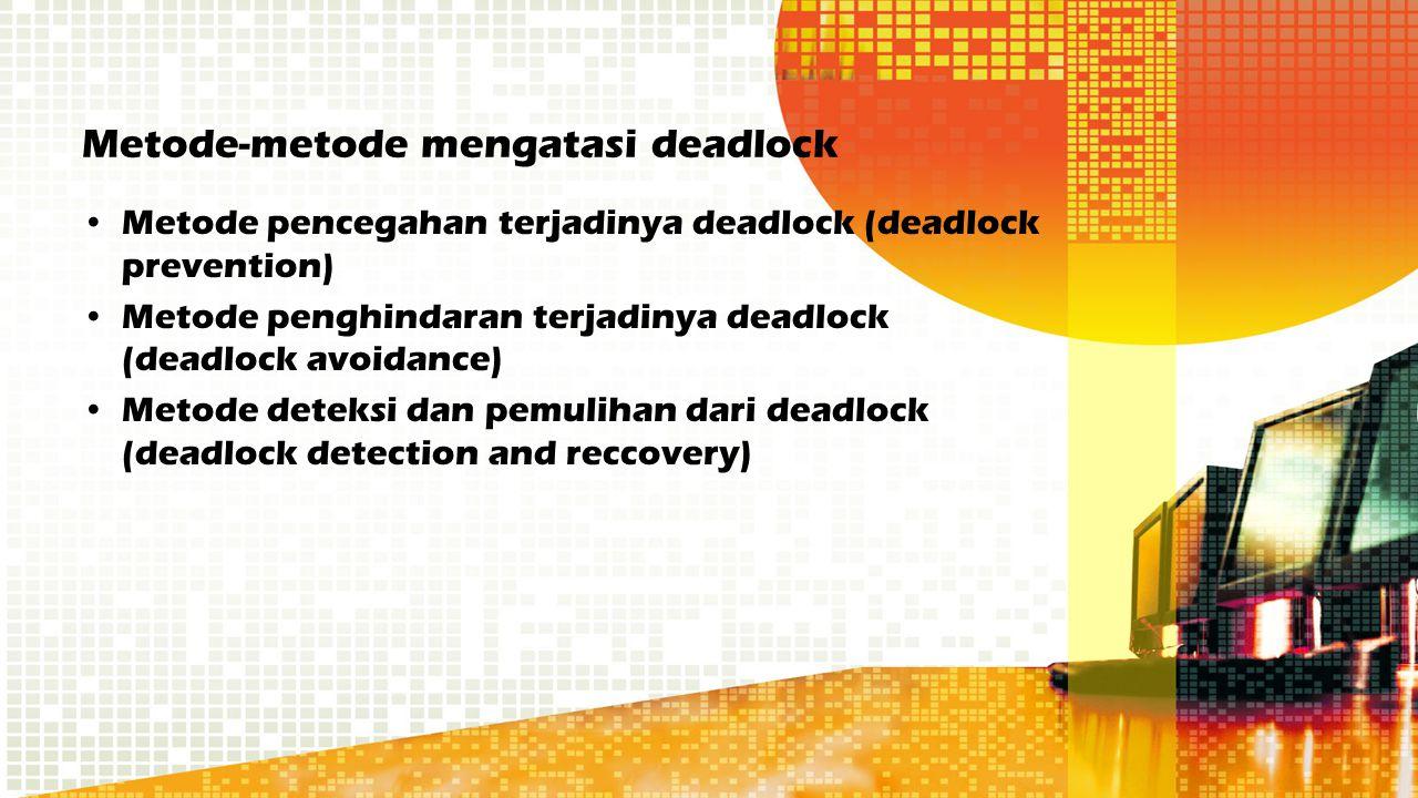 Metode-metode mengatasi deadlock Metode pencegahan terjadinya deadlock (deadlock prevention) Metode penghindaran terjadinya deadlock (deadlock avoidan