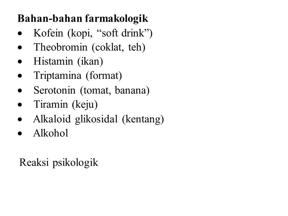 Bahan-bahan farmakologik  Kofein (kopi, soft drink )  Theobromin (coklat, teh)  Histamin (ikan)  Triptamina (format)  Serotonin (tomat, banana)  Tiramin (keju)  Alkaloid glikosidal (kentang)  Alkohol Reaksi psikologik