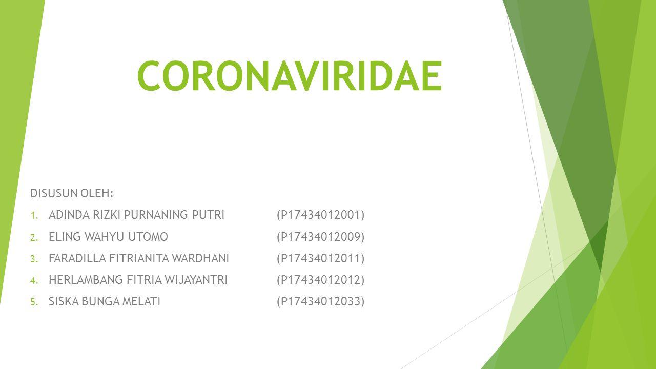 PENGERTIAN Coronaviridae merupakan salah satu family virus, yang memiliki dua sub family yaitu coronavirinae (coronavirus) dan torovirinae yang merupakan enveloped virus positif RNA.