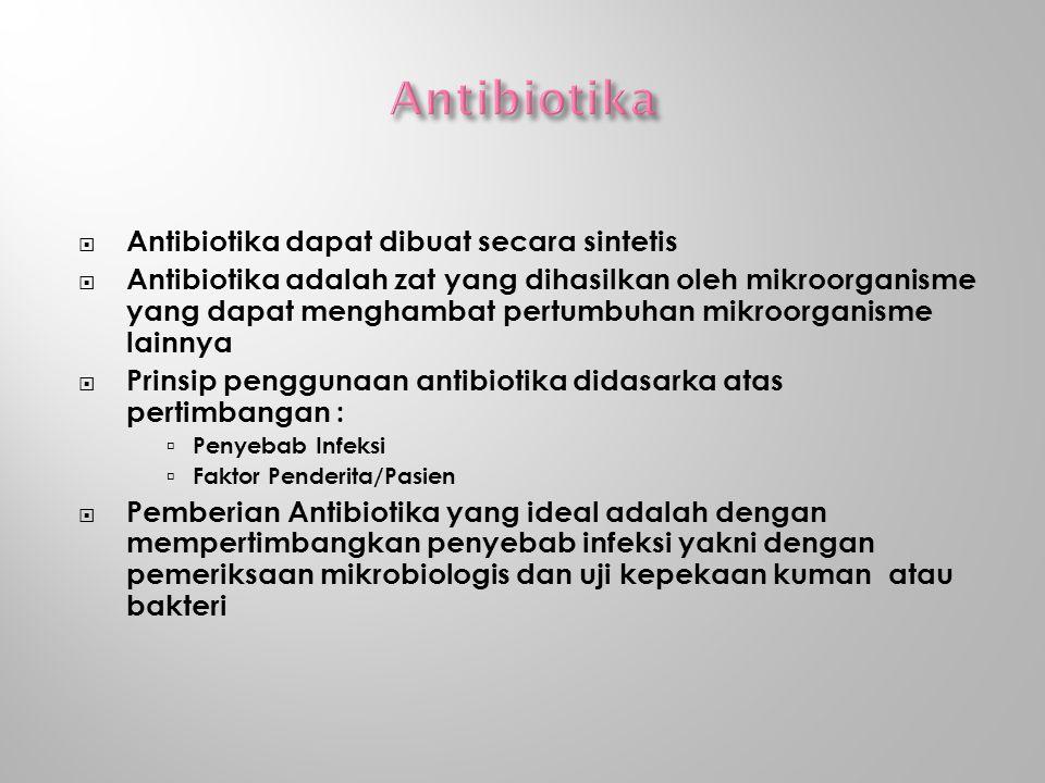  Antibiotika dapat dibuat secara sintetis  Antibiotika adalah zat yang dihasilkan oleh mikroorganisme yang dapat menghambat pertumbuhan mikroorganisme lainnya  Prinsip penggunaan antibiotika didasarka atas pertimbangan :  Penyebab Infeksi  Faktor Penderita/Pasien  Pemberian Antibiotika yang ideal adalah dengan mempertimbangkan penyebab infeksi yakni dengan pemeriksaan mikrobiologis dan uji kepekaan kuman atau bakteri