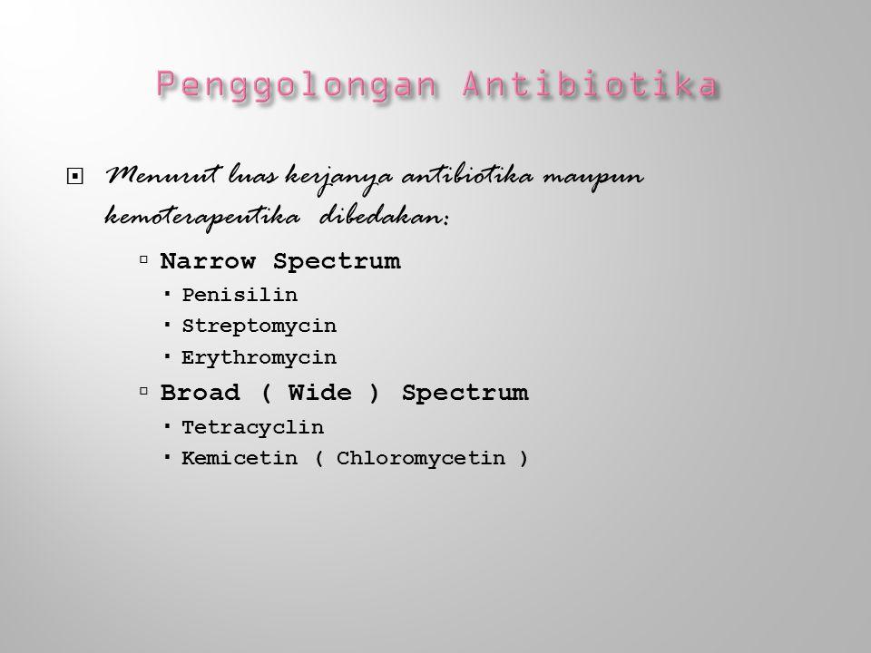 Penisilin dan sefalosporin Tetrasiklin dan kloramfenikol Aminoglikosid Antibiotika lain : makrolid, eritromisin dls