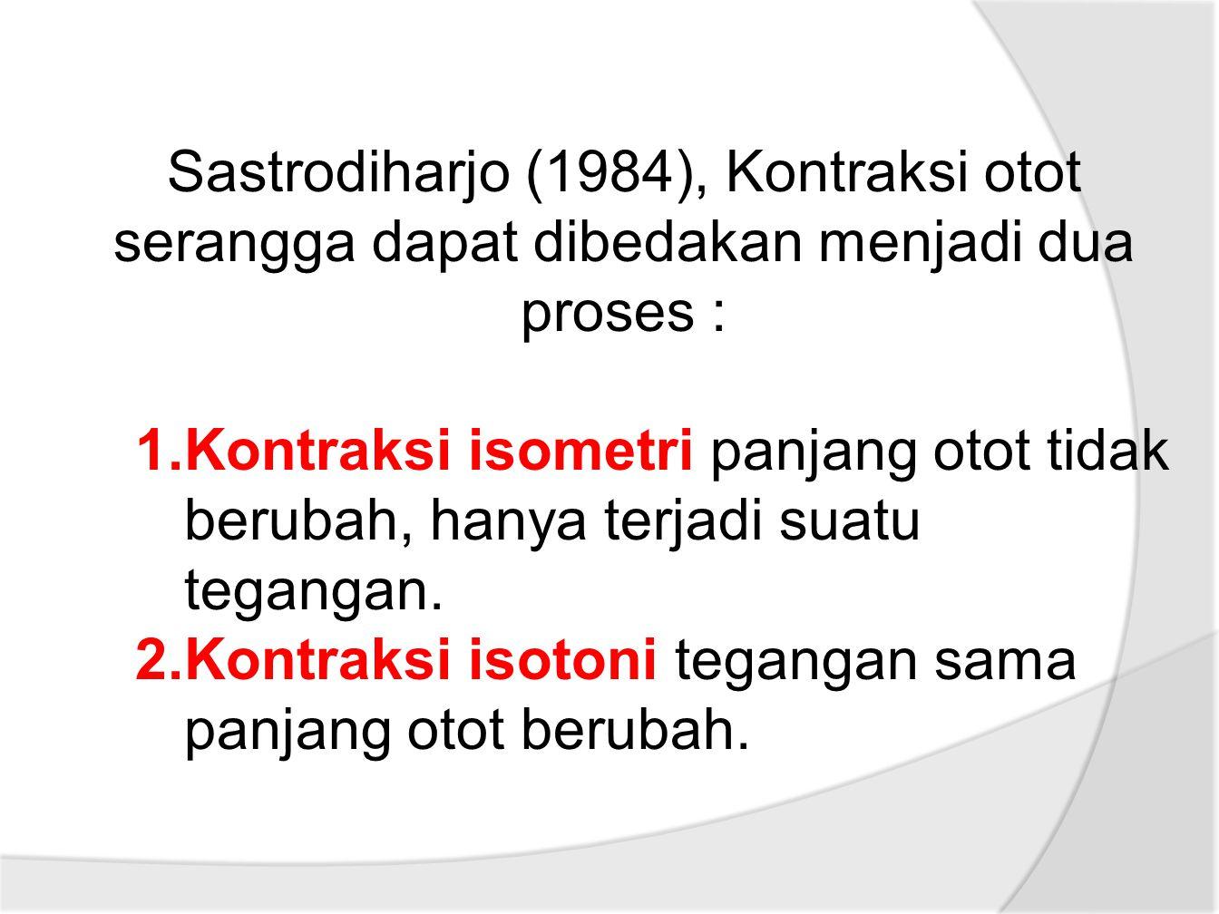 Sastrodiharjo (1984), Kontraksi otot serangga dapat dibedakan menjadi dua proses : 1.Kontraksi isometri panjang otot tidak berubah, hanya terjadi suatu tegangan.