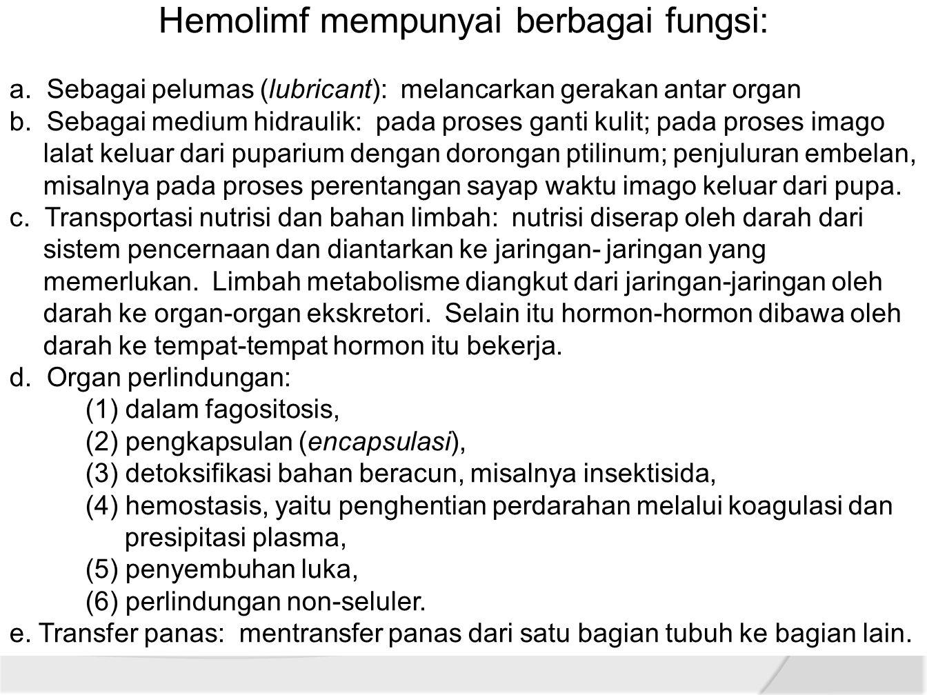Hemolimf mempunyai berbagai fungsi: a.