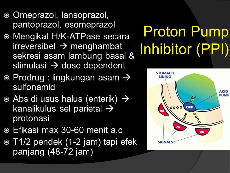 Proton Pump Inhibitor (PPI)  Omeprazol, lansoprazol, pantoprazol, esomeprazol  Mengikat H/K-ATPase secara irreversibel  menghambat sekresi asam lam