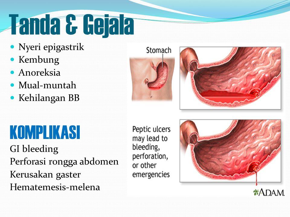 Tanda & Gejala Nyeri epigastrik Kembung Anoreksia Mual-muntah Kehilangan BB KOMPLIKASI GI bleeding Perforasi rongga abdomen Kerusakan gaster Hematemes