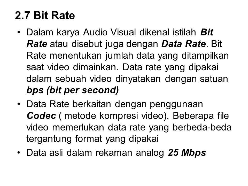 2.7 Bit Rate Dalam karya Audio Visual dikenal istilah Bit Rate atau disebut juga dengan Data Rate. Bit Rate menentukan jumlah data yang ditampilkan sa