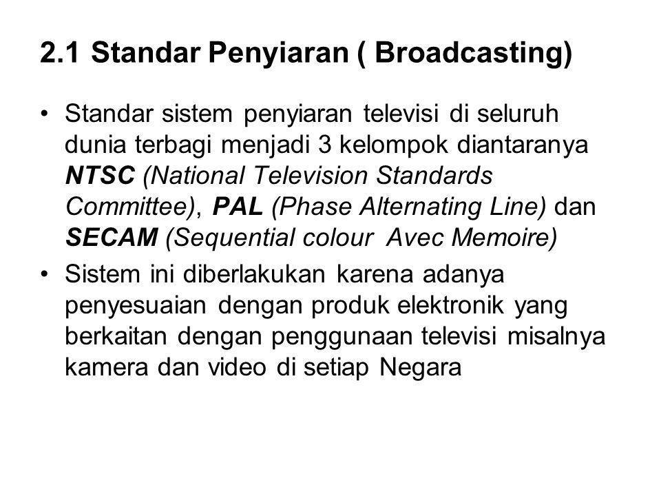 2.1 Standar Penyiaran ( Broadcasting) Standar sistem penyiaran televisi di seluruh dunia terbagi menjadi 3 kelompok diantaranya NTSC (National Televis