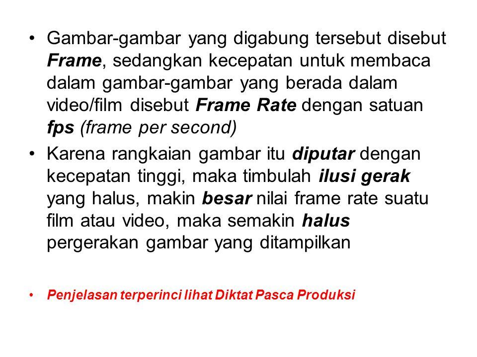 Gambar-gambar yang digabung tersebut disebut Frame, sedangkan kecepatan untuk membaca dalam gambar-gambar yang berada dalam video/film disebut Frame R