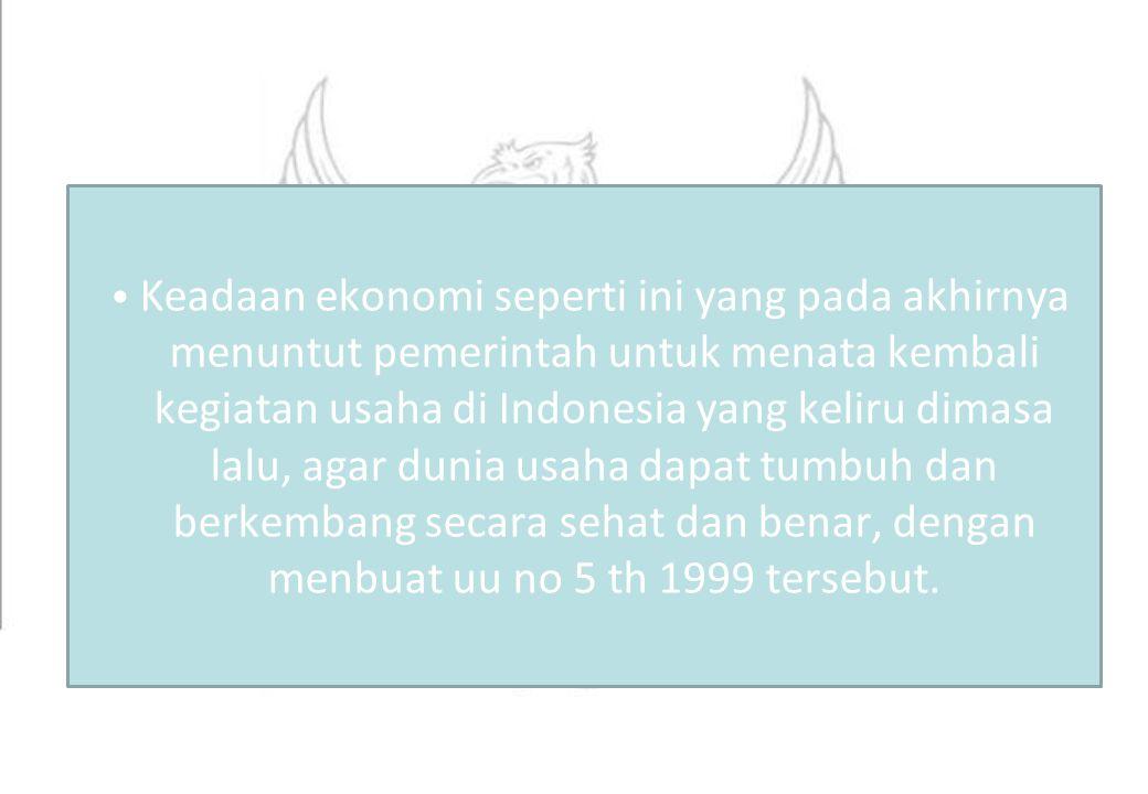 Pemboikotan (pasal 10) Membuat perjanjian dengan pesaing untuk menghalangi pesaing yang melakukan usaha yang sama untuk pasar dalam/luar negeri Menolak menjual barang/jasa dari pelaku usaha lain Membatasi penjualan/pembelian barang/jasa Contoh: Perusahaan penerbangan Indonesia dilarang memasuki wilayah udara Uni Eropa