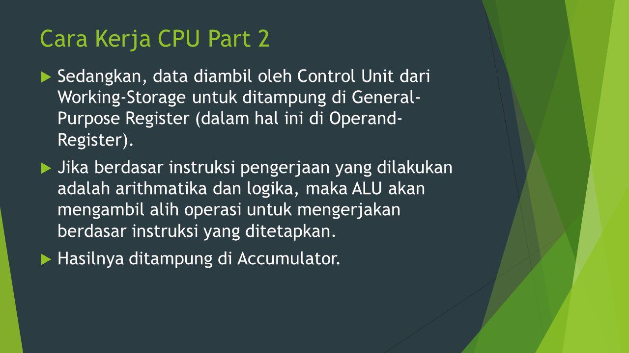 Cara Kerja CPU Part 2  Sedangkan, data diambil oleh Control Unit dari Working-Storage untuk ditampung di General- Purpose Register (dalam hal ini di