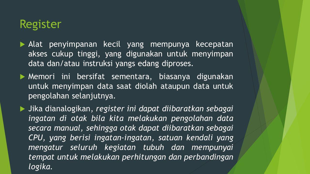 Register  Alat penyimpanan kecil yang mempunya kecepatan akses cukup tinggi, yang digunakan untuk menyimpan data dan/atau instruksi yangs edang dipro