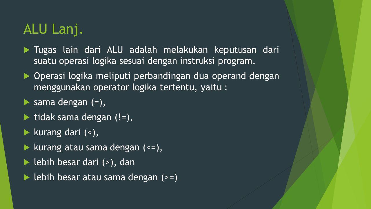 ALU Lanj.  Tugas lain dari ALU adalah melakukan keputusan dari suatu operasi logika sesuai dengan instruksi program.  Operasi logika meliputi perban