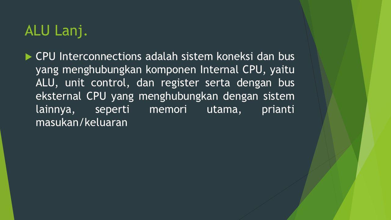 ALU Lanj.  CPU Interconnections adalah sistem koneksi dan bus yang menghubungkan komponen Internal CPU, yaitu ALU, unit control, dan register serta d