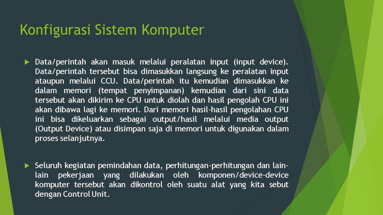 Konfigurasi Sistem Komputer  Data/perintah akan masuk melalui peralatan input (input device). Data/perintah tersebut bisa dimasukkan langsung ke pera