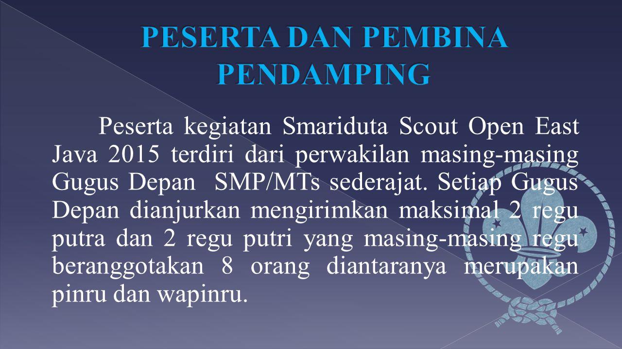 Peserta kegiatan Smariduta Scout Open East Java 2015 terdiri dari perwakilan masing-masing Gugus Depan SMP/MTs sederajat. Setiap Gugus Depan dianjurka
