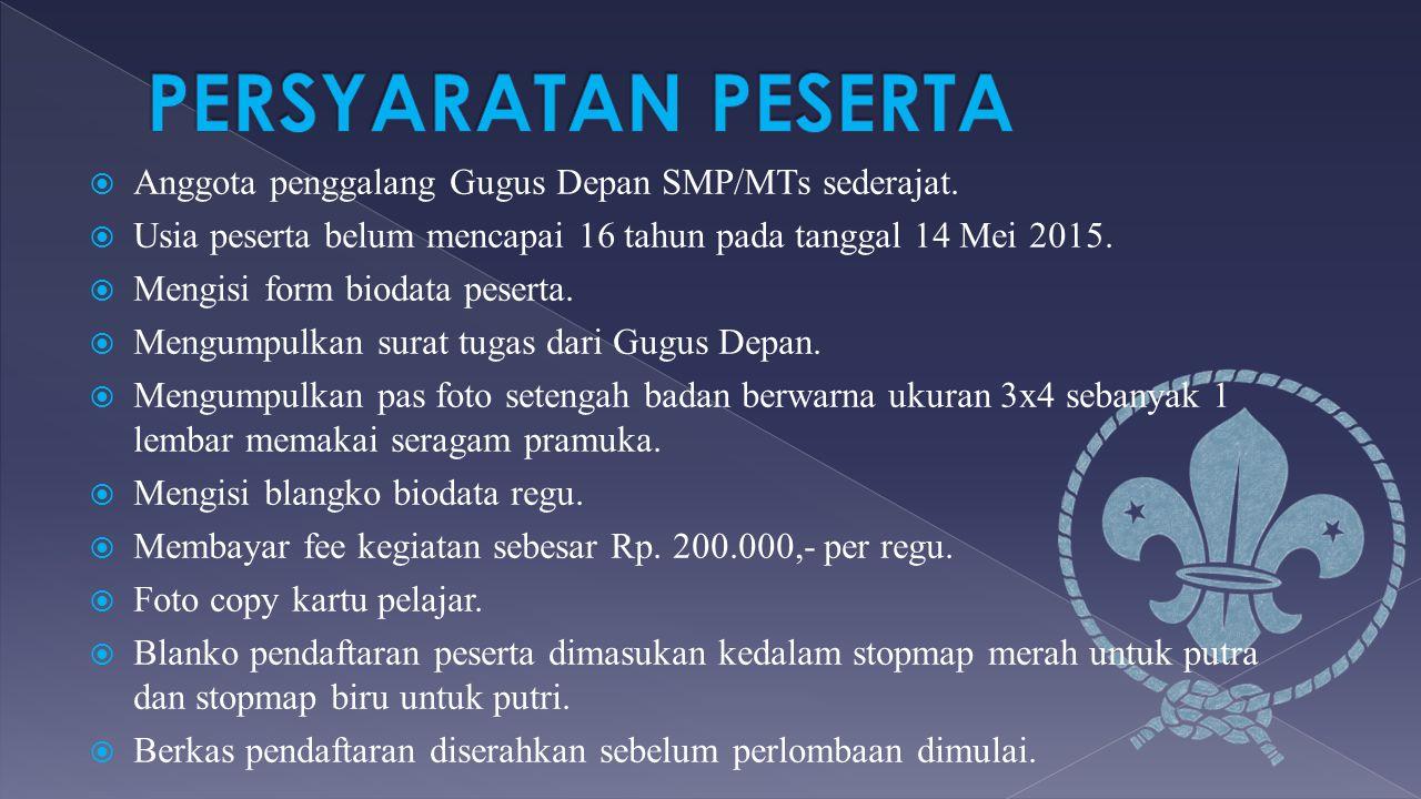  Anggota penggalang Gugus Depan SMP/MTs sederajat.  Usia peserta belum mencapai 16 tahun pada tanggal 14 Mei 2015.  Mengisi form biodata peserta. 