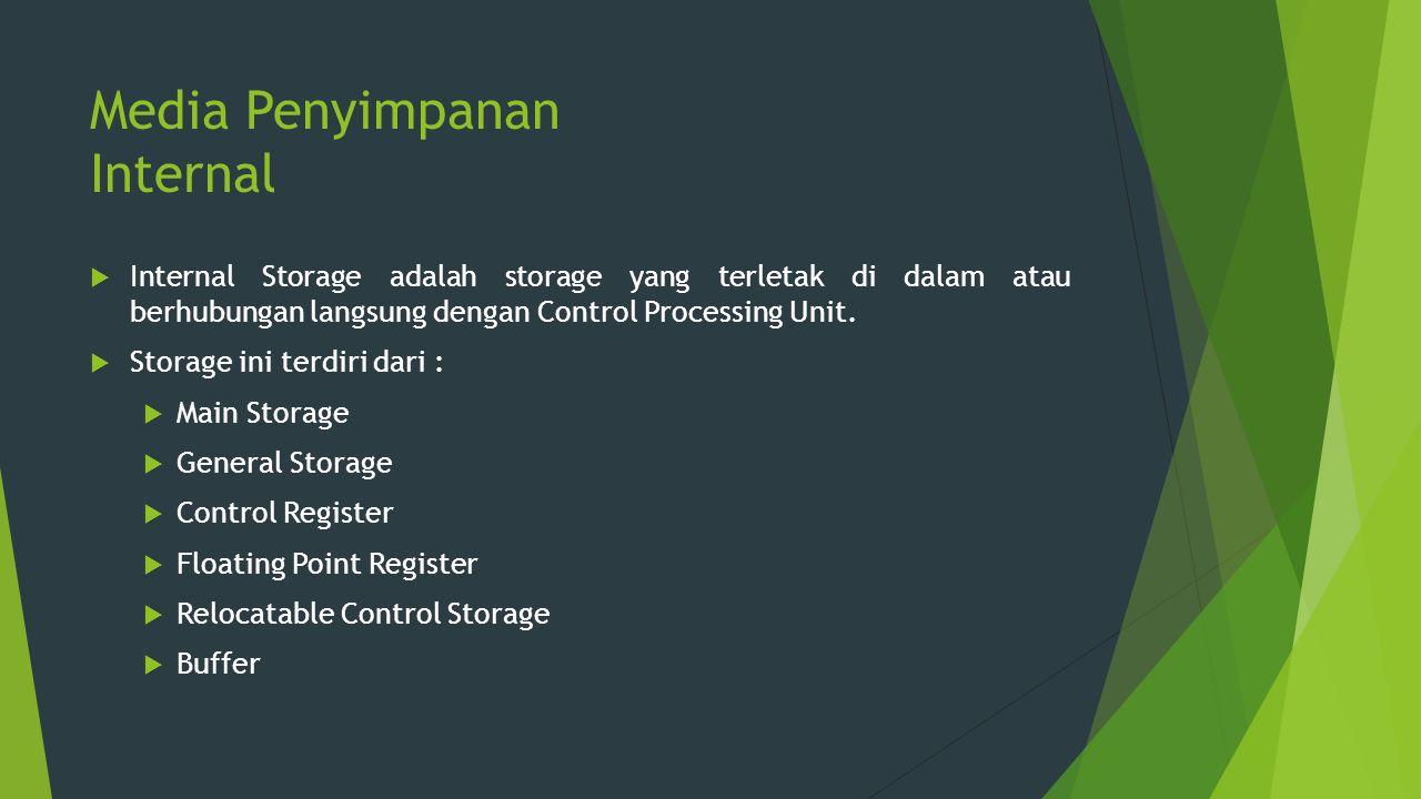 Media Penyimpanan Internal  Internal Storage adalah storage yang terletak di dalam atau berhubungan langsung dengan Control Processing Unit.  Storag