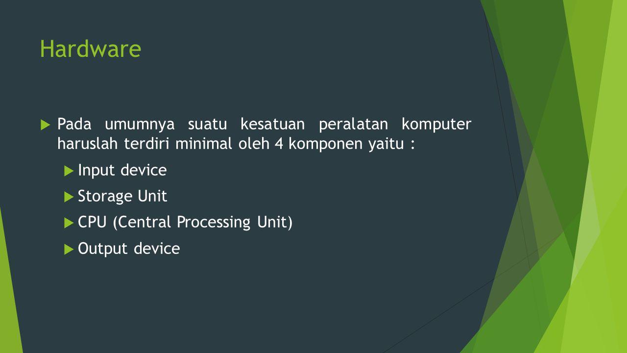 Storage Device  Media penyimpanan atau storage atau memori dapat dibedakan atas 2 bagian, yaitu :  Internal Storage ( Primary Storage )  External Storage ( Secondary Storage )