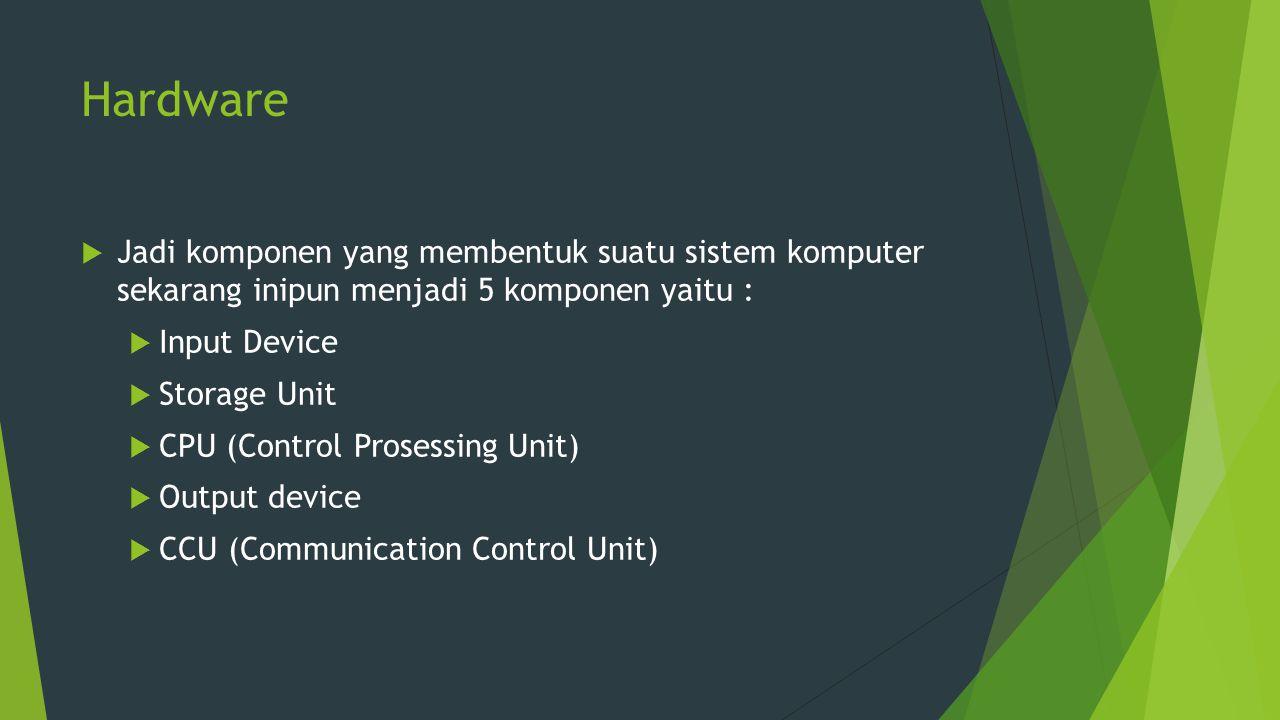 Hardware  Jadi komponen yang membentuk suatu sistem komputer sekarang inipun menjadi 5 komponen yaitu :  Input Device  Storage Unit  CPU (Control