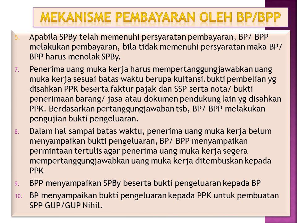 5. Apabila SPBy telah memenuhi persyaratan pembayaran, BP/ BPP melakukan pembayaran, bila tidak memenuhi persyaratan maka BP/ BPP harus menolak SPBy.