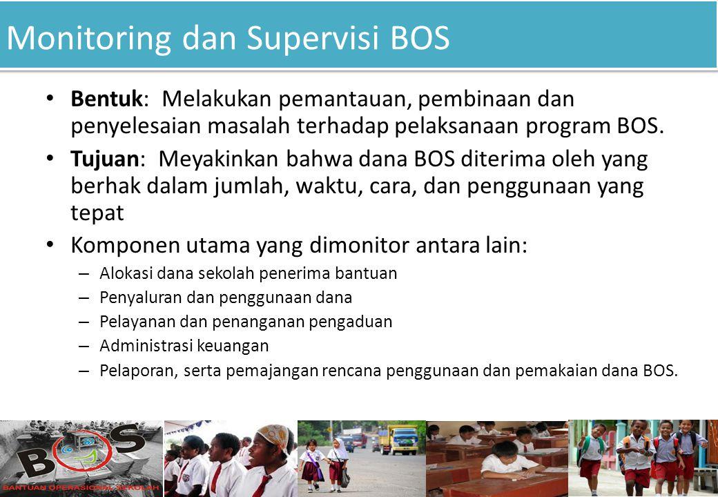 Monitoring dan Supervisi BOS 11 Bentuk: Melakukan pemantauan, pembinaan dan penyelesaian masalah terhadap pelaksanaan program BOS. Tujuan: Meyakinkan