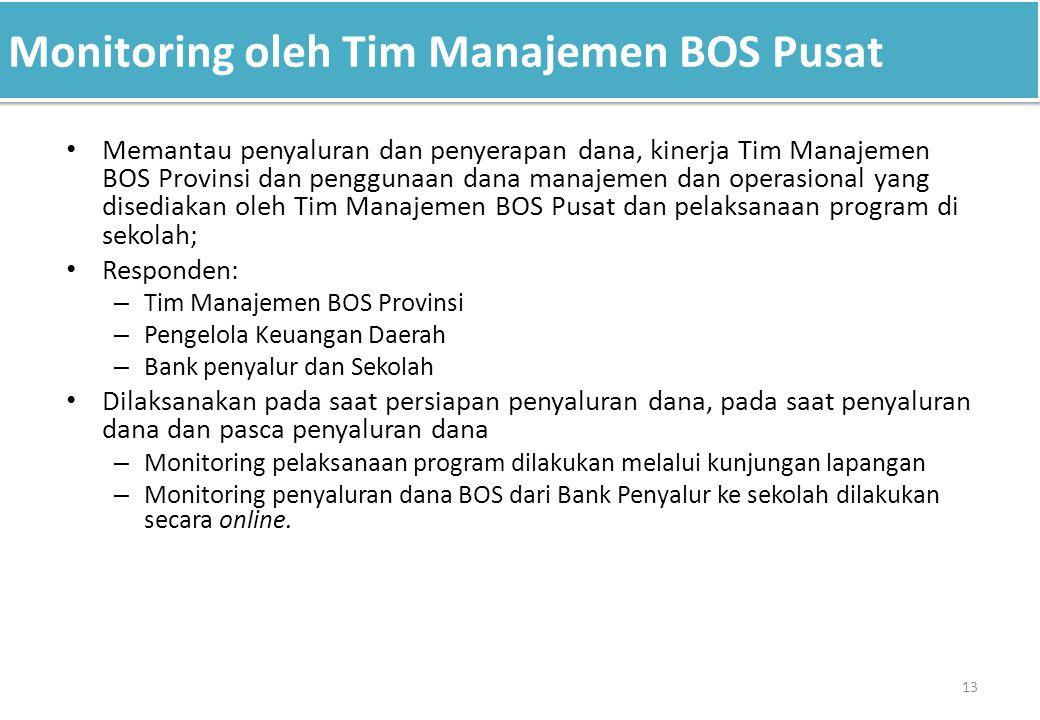 Monitoring oleh Tim Manajemen BOS Pusat 13 Memantau penyaluran dan penyerapan dana, kinerja Tim Manajemen BOS Provinsi dan penggunaan dana manajemen d