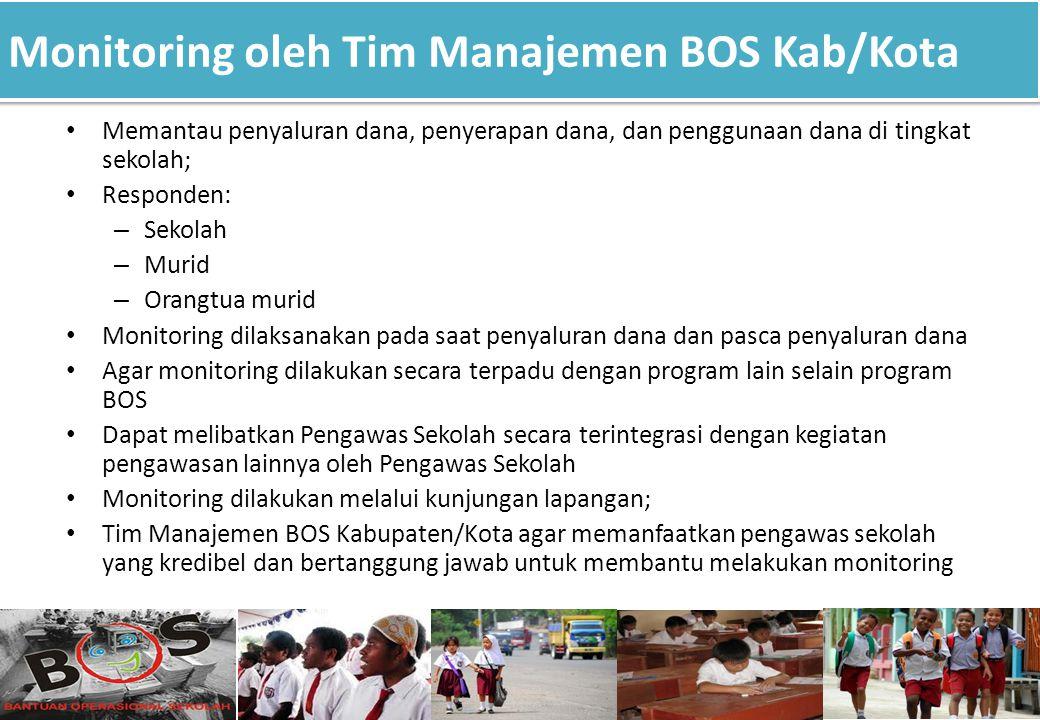 Monitoring oleh Tim Manajemen BOS Kab/Kota 15 Memantau penyaluran dana, penyerapan dana, dan penggunaan dana di tingkat sekolah; Responden: – Sekolah