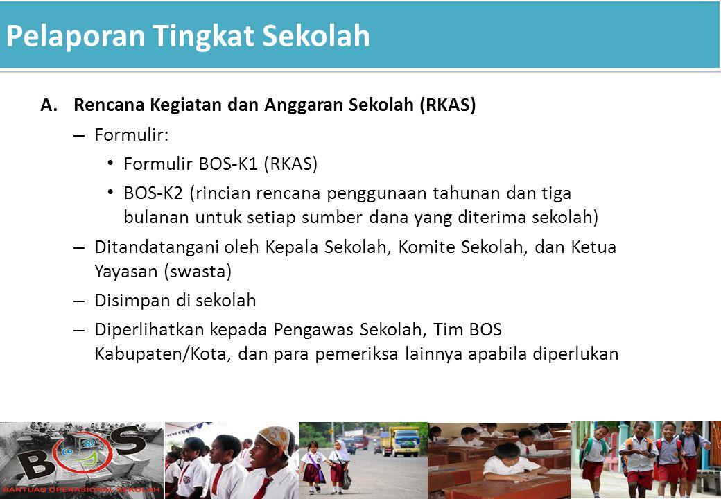 Pelaporan Tingkat Sekolah 17 A.Rencana Kegiatan dan Anggaran Sekolah (RKAS) – Formulir: Formulir BOS-K1 (RKAS) BOS-K2 (rincian rencana penggunaan tahu