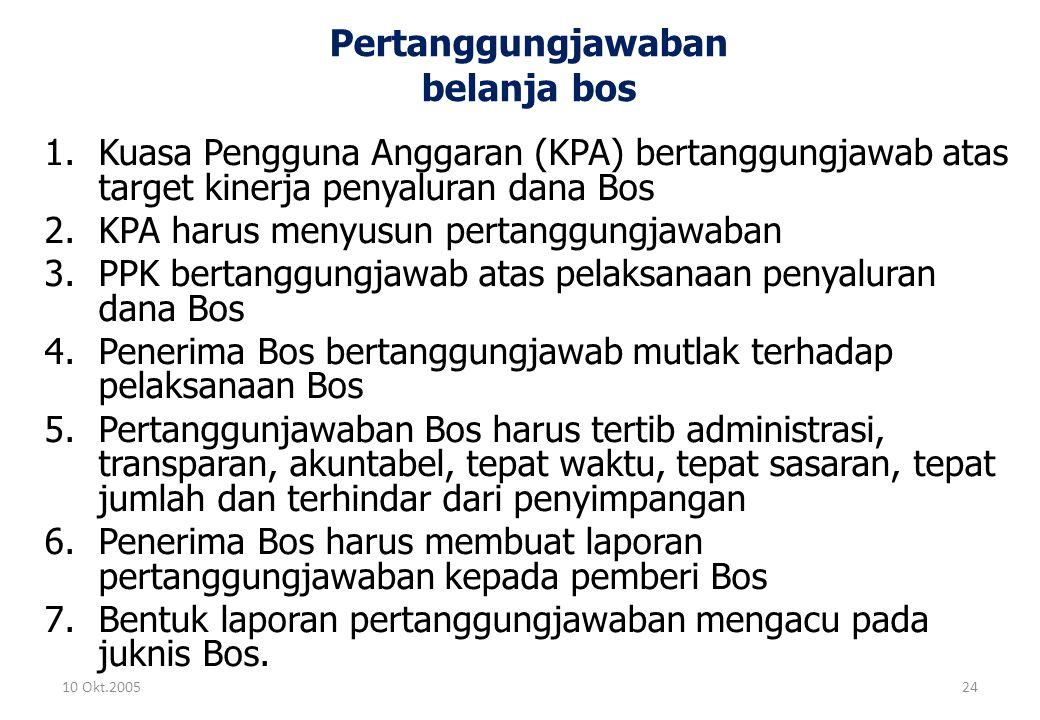 Pertanggungjawaban belanja bos 1.Kuasa Pengguna Anggaran (KPA) bertanggungjawab atas target kinerja penyaluran dana Bos 2.KPA harus menyusun pertanggu