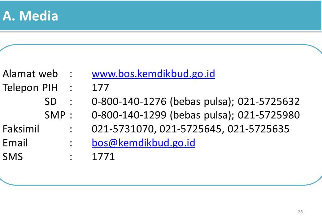 A. Media 28 Alamat web:www.bos.kemdikbud.go.idwww.bos.kemdikbud.go.id Telepon PIH:177 SD:0-800-140-1276 (bebas pulsa); 021-5725632 SMP:0-800-140-1299