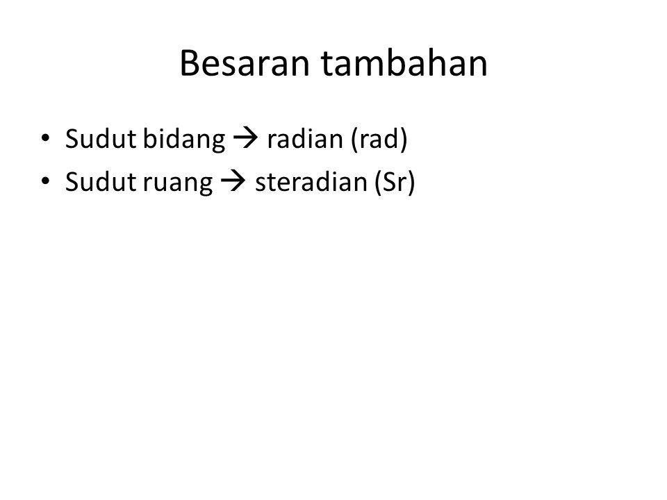 Besaran tambahan Sudut bidang  radian (rad) Sudut ruang  steradian (Sr)