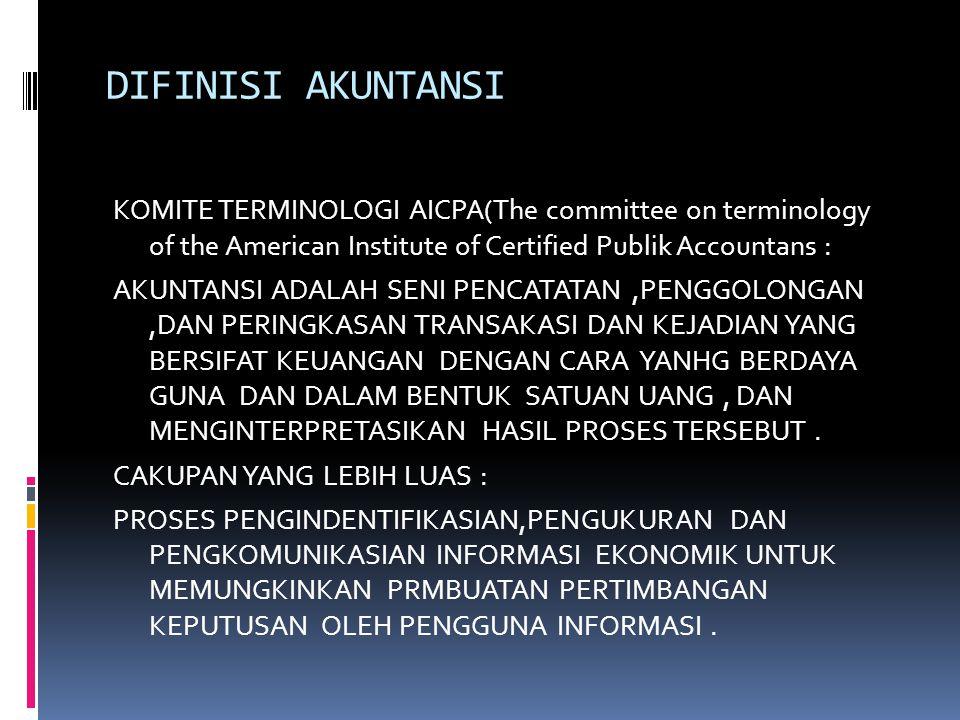 DIFINISI AKUNTANSI KOMITE TERMINOLOGI AICPA(The committee on terminology of the American Institute of Certified Publik Accountans : AKUNTANSI ADALAH SENI PENCATATAN,PENGGOLONGAN,DAN PERINGKASAN TRANSAKASI DAN KEJADIAN YANG BERSIFAT KEUANGAN DENGAN CARA YANHG BERDAYA GUNA DAN DALAM BENTUK SATUAN UANG, DAN MENGINTERPRETASIKAN HASIL PROSES TERSEBUT.